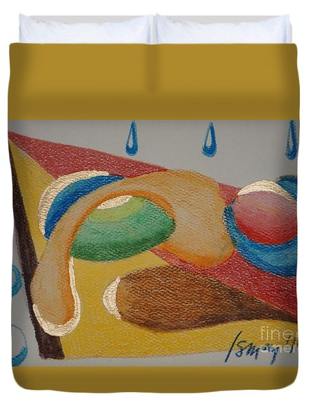 Duvet Cover featuring the drawing Card 4 by Rod Ismay