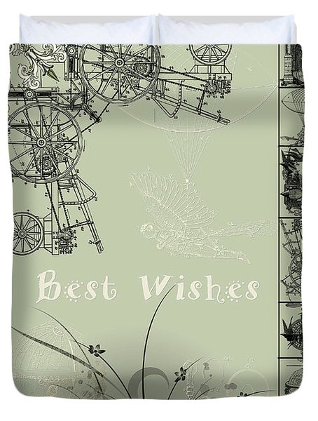 Card Best Wishes Duvet Cover