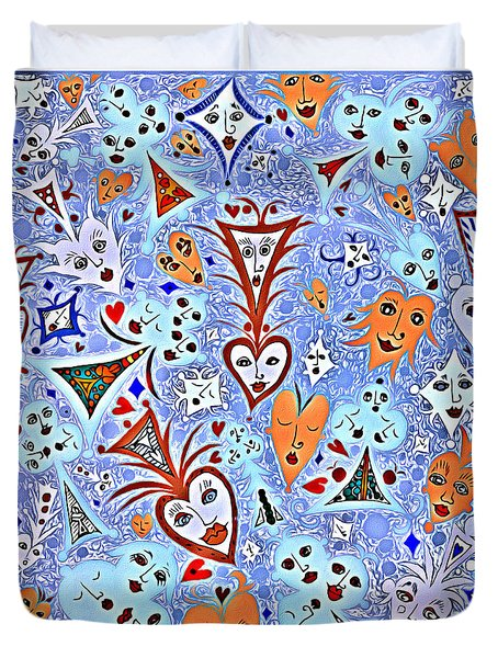 Card Game Symbols With Faces In Blue Duvet Cover