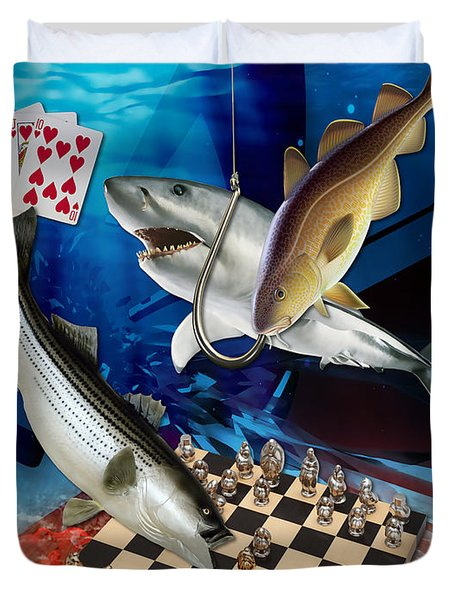 Card Shark And One On The Hook Duvet Cover