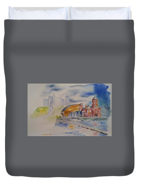 Duvet Cover featuring the painting Cardiff Memoir In Watercolor by Geeta Biswas