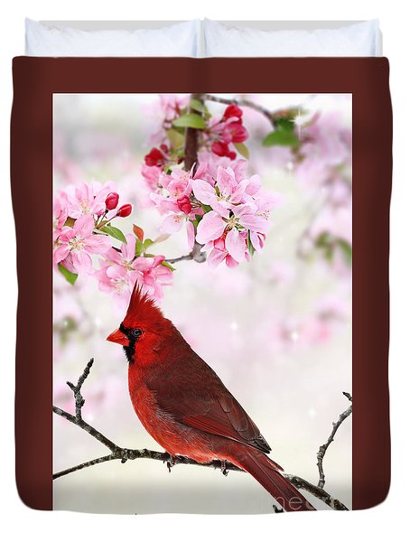 Cardinal Amid Spring Tree Blossoms Duvet Cover