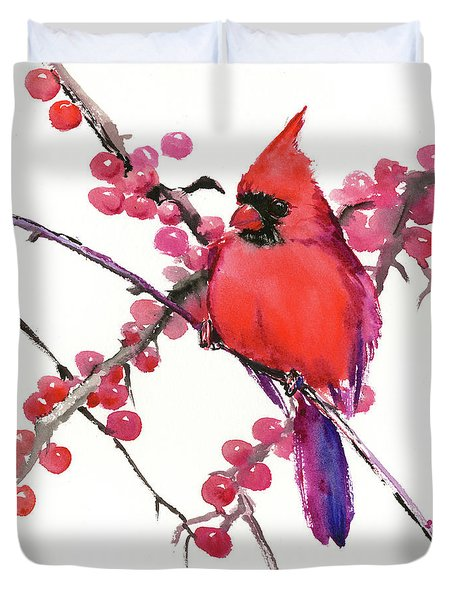 Cardinal And Berries Duvet Cover
