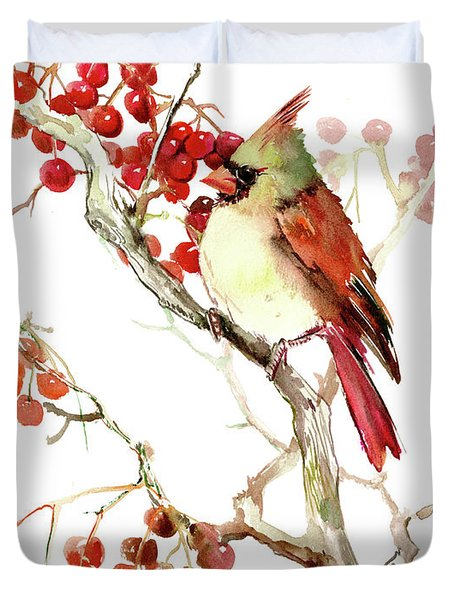 Cardinal Bird And Berries Duvet Cover