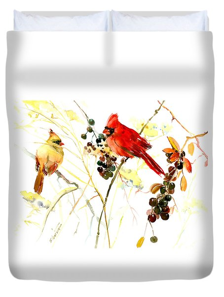Cardinal Birds And Berries Duvet Cover