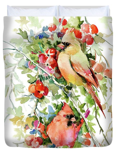Cardinal Birds And Hawthorn Duvet Cover