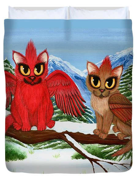 Duvet Cover featuring the painting Cardinal Cats by Carrie Hawks