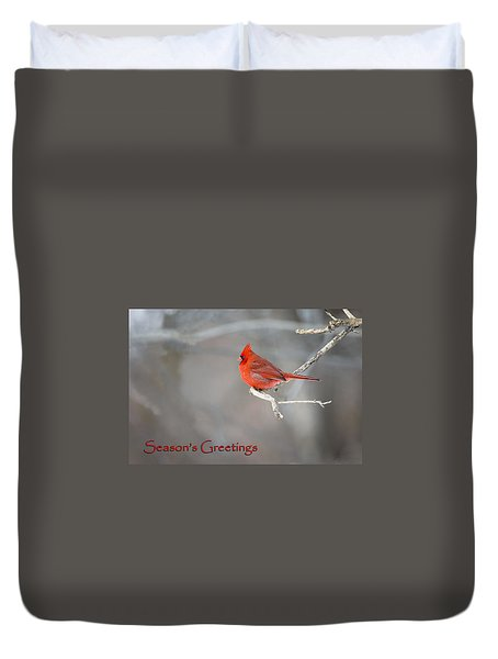 Duvet Cover featuring the photograph Cardinal Christmas Card by Gary Hall