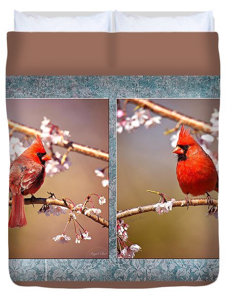 Duvet Cover featuring the photograph Cardinal Collage by Angel Cher