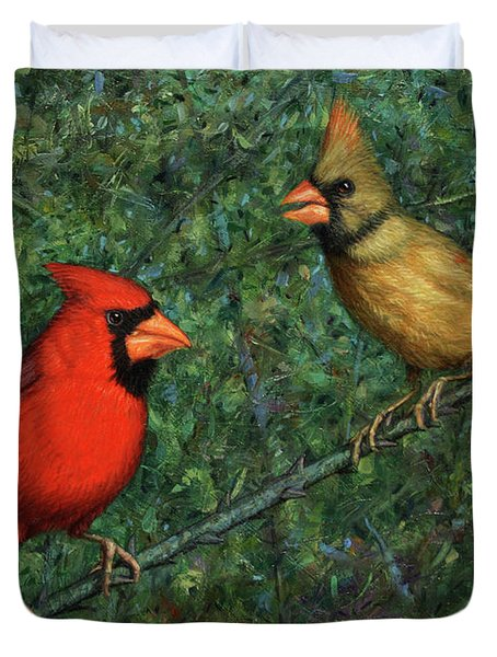 Cardinal Couple Duvet Cover by James W Johnson
