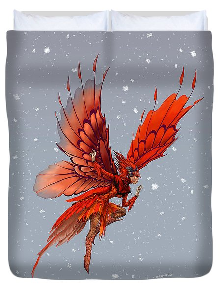 Duvet Cover featuring the digital art Cardinal Fairy by Stanley Morrison