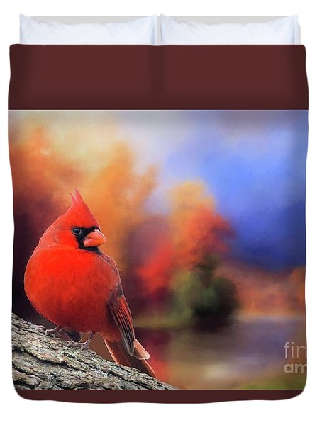 Cardinal In Autumn Duvet Cover by Janette Boyd