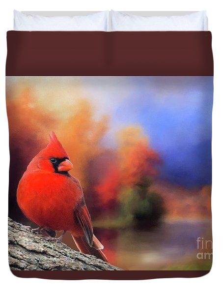 Cardinal In Autumn Duvet Cover