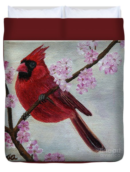 Cardinal In Cherry Blossoms Duvet Cover by Jane Axman