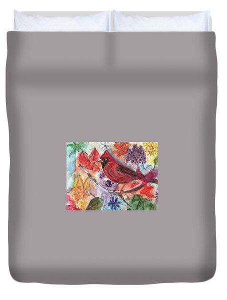 Cardinal In Flowers Duvet Cover
