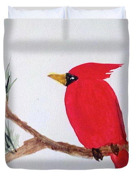 Cardinal In My Backyard Duvet Cover
