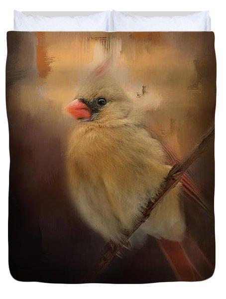Cardinal In The Evening Light Bird Art Duvet Cover