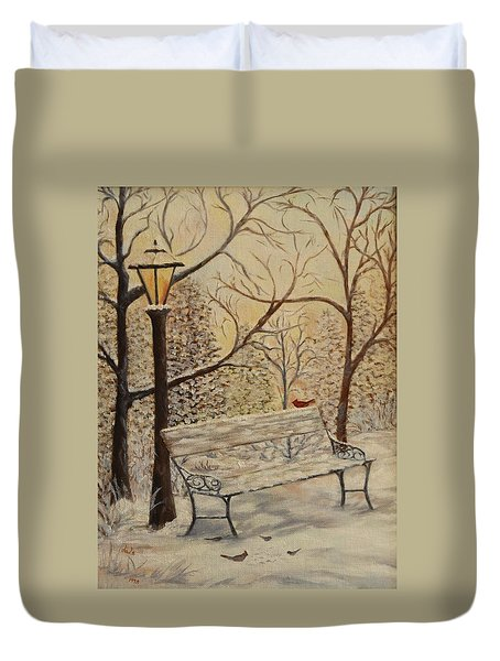 Cardinal In The Snow Duvet Cover by Douglas Ann Slusher