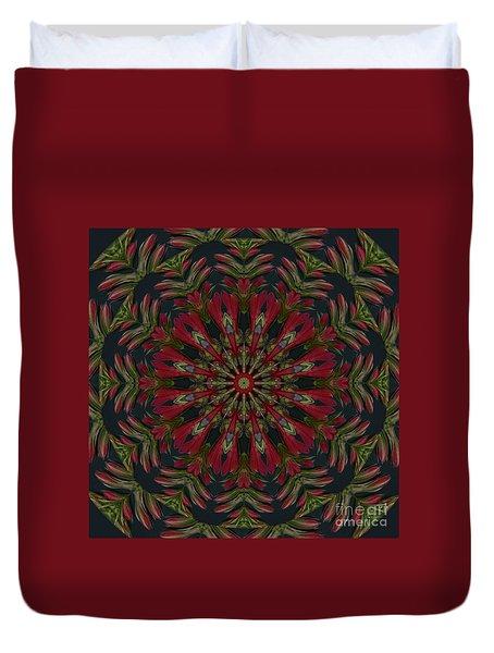 Cardinal Kaleidoscope Duvet Cover by Judy Wolinsky