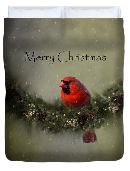 Cardinal Merry Christmas Duvet Cover by Ann Bridges