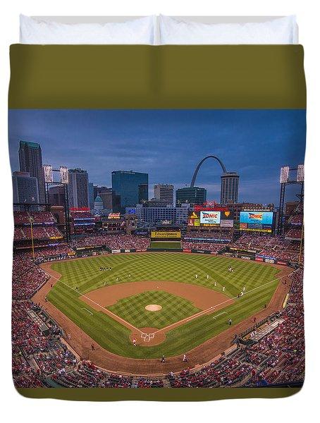 Cardinal Nation Busch Stadium St. Louis Cardinals Twilight 2015 Duvet Cover by David Haskett