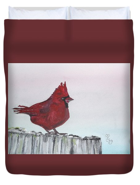 Cardinal On A Fence Post Duvet Cover