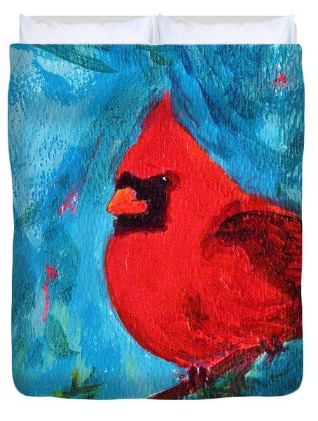 Cardinal Red Bird Watercolor Modern Art Duvet Cover
