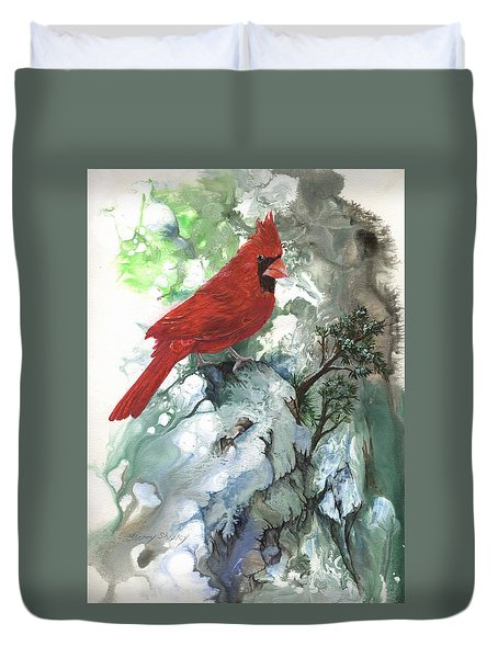 Duvet Cover featuring the painting Cardinal by Sherry Shipley