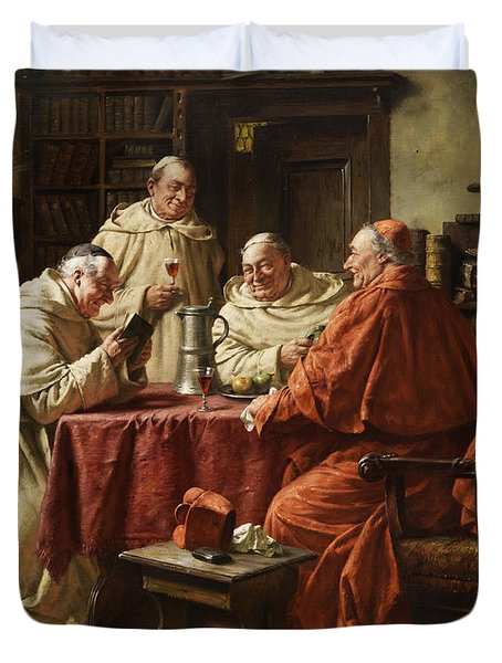 Cardinal With Monks Duvet Cover by Fritz Wagner