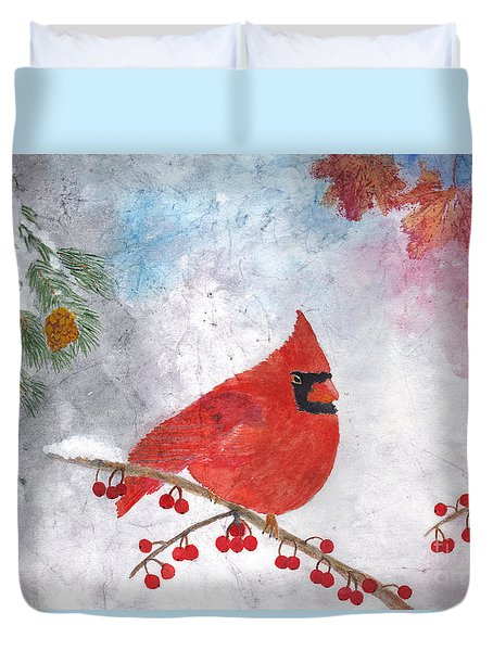 Cardinal With Red Berries And Pine Cones Duvet Cover