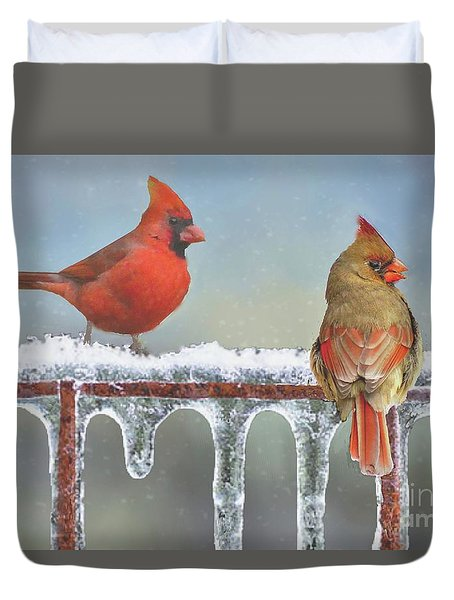 Cardinals And Icicles Duvet Cover