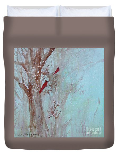 Duvet Cover featuring the painting Cardinals In Trees Whilst Snowing by Robin Maria Pedrero