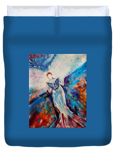 Care Of The Butterfly  Duvet Cover