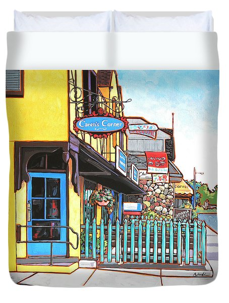 Duvet Cover featuring the painting Caren's Corner by Nadi Spencer