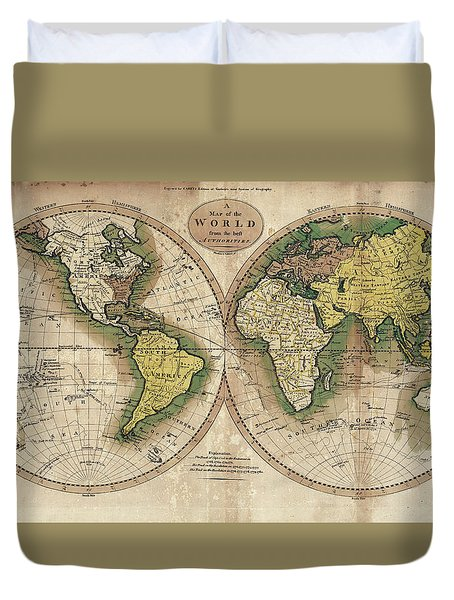 Duvet Cover featuring the photograph Carey's Map Of The World  1795 by Daniel Hagerman