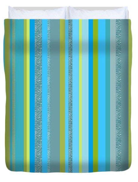 Caribbean Blue Decorative Stripe Duvet Cover