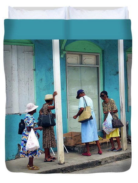 Duvet Cover featuring the photograph Caribbean Blue, Speightstown, Barbados by Kurt Van Wagner