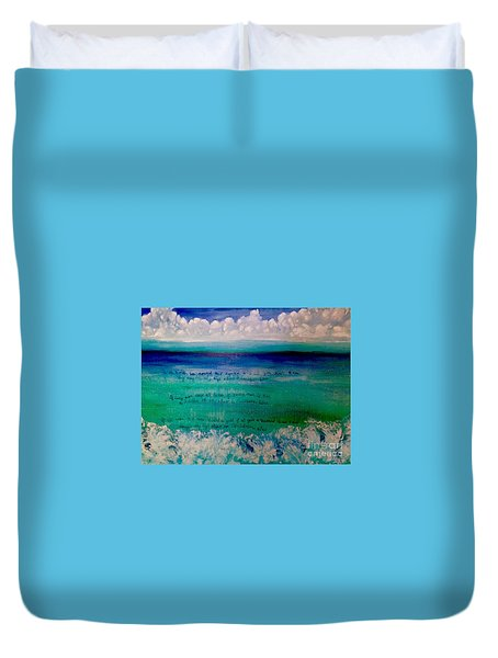 Caribbean Blue Words That Float On The Water  Duvet Cover