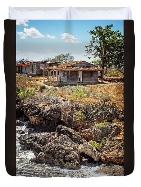 Duvet Cover featuring the photograph Caribbean Coastline Cuba by Joan Carroll