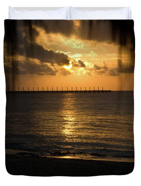 Caribbean Early Sunrise 5 Duvet Cover by Douglas Barnett