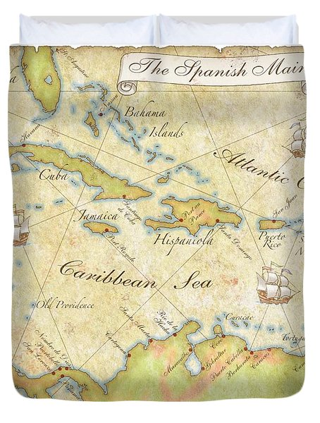 Caribbean Map - Good Duvet Cover
