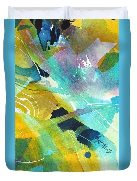 Duvet Cover featuring the painting Caribbean Rhythm by Rae Andrews
