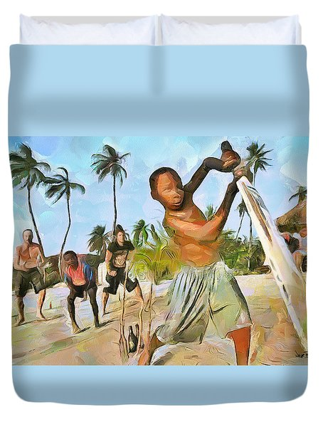 Duvet Cover featuring the painting Caribbean Scenes - Cricket On De Beach by Wayne Pascall