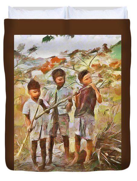Duvet Cover featuring the painting Caribbean Scenes - Eating Sugarcane by Wayne Pascall