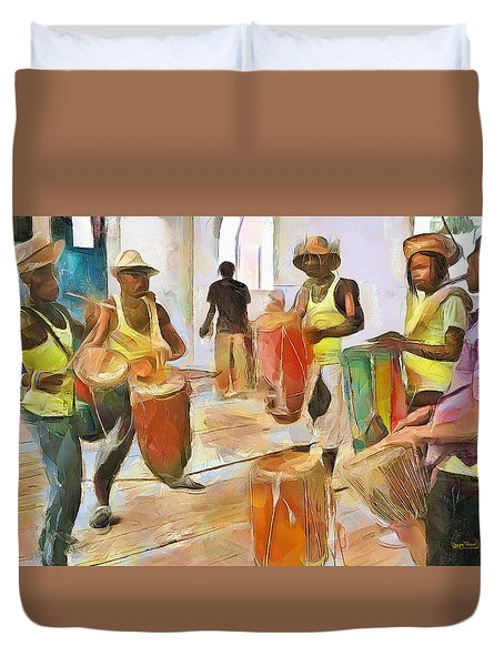 Duvet Cover featuring the painting Caribbean Scenes - Folk Drummers by Wayne Pascall