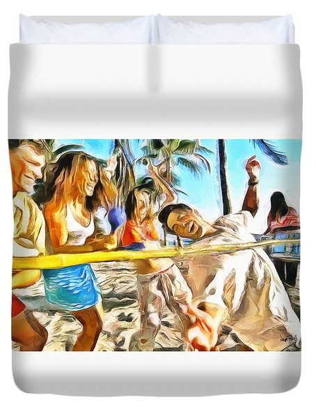 Duvet Cover featuring the painting Caribbean Scenes - Limbo by Wayne Pascall