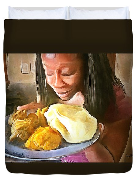 Duvet Cover featuring the painting Caribbean Scenes - Roti, Pumpkin And Curry Chicken by Wayne Pascall