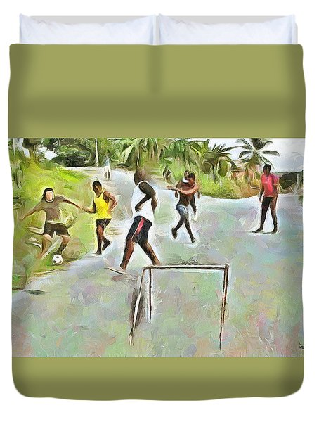 Duvet Cover featuring the painting Caribbean Scenes - Small Goal In De Street by Wayne Pascall