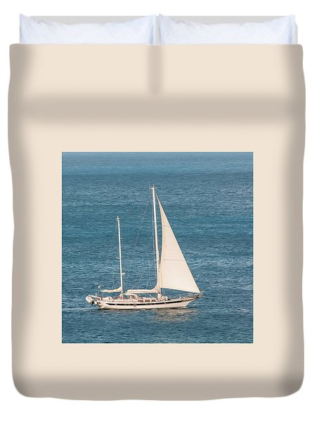 Duvet Cover featuring the photograph Caribbean Scooner by Gary Slawsky