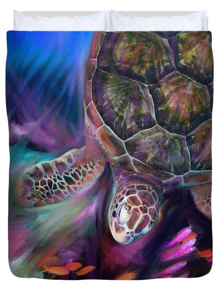 Caribbean Sea Turtle Duvet Cover